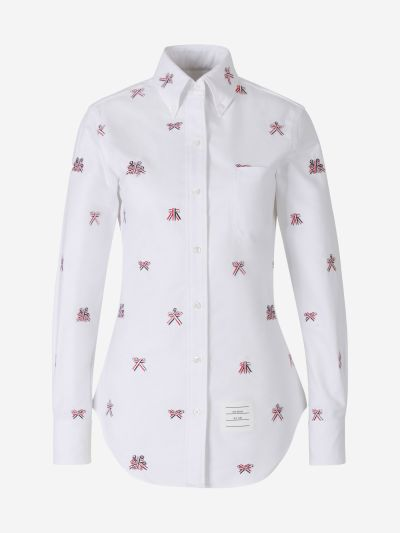 Embroidered Bows Oxford Shirt