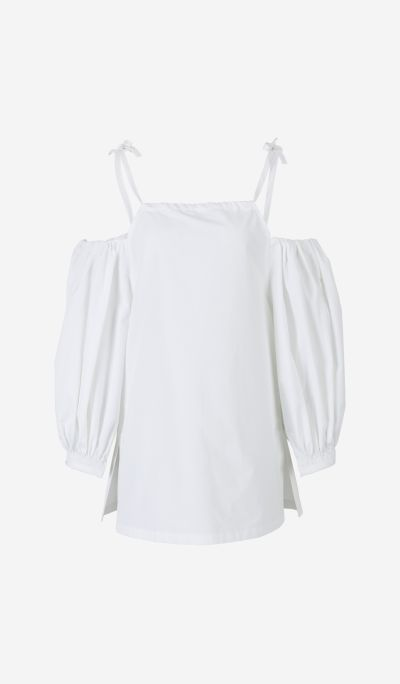 Cold Shoulder Poplin Blouse