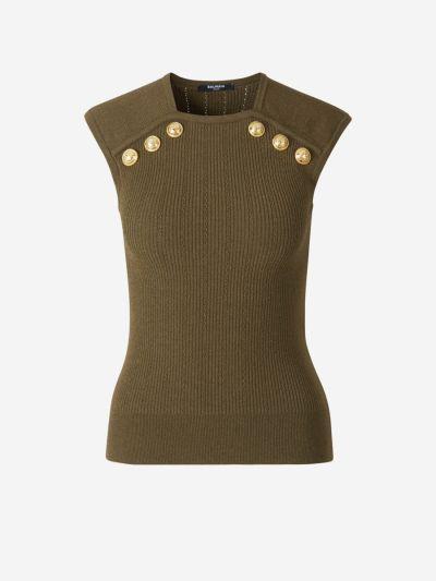 Metallic buttons knit top