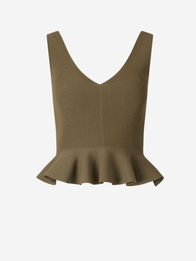 Ruffled Hem Ribbed Top