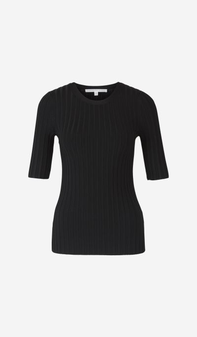 Ribbed jumper with short sleeves
