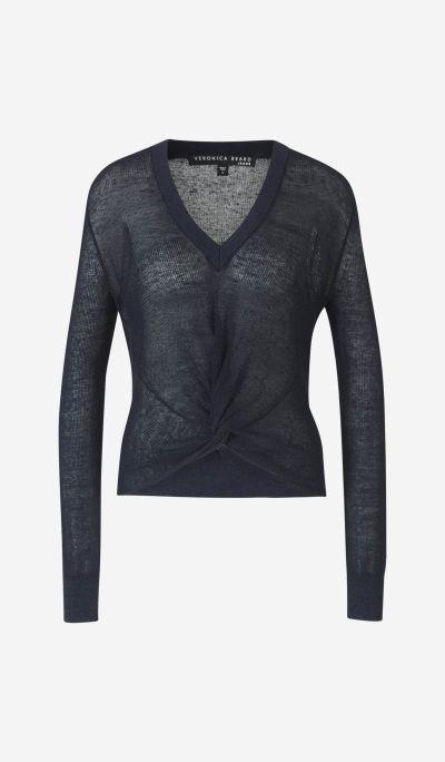V-neck jumper with knot