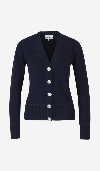 Cashmere cardigan with strass buttons