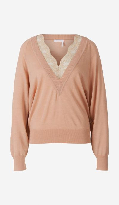 Lace Neckline Sweater
