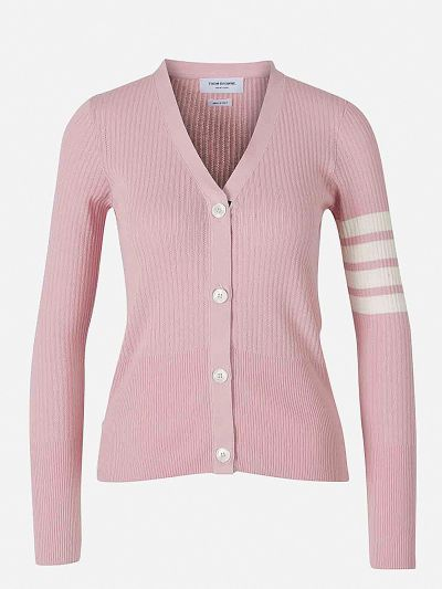 Openwork Striped Sleeved Cardigan