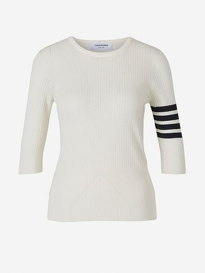 Openwork Striped Sleeved Jersey