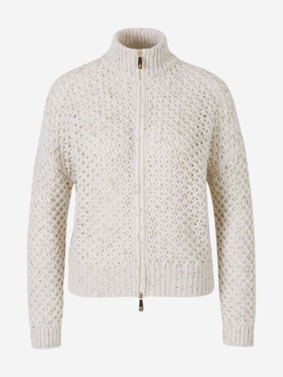Zipper Openwork Cardigan