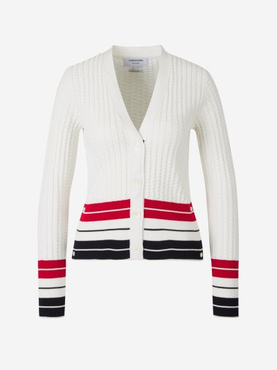 Contrasting Stripes Textured Cardigan