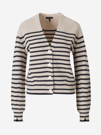 Striped Cashmere Knit Cardigan