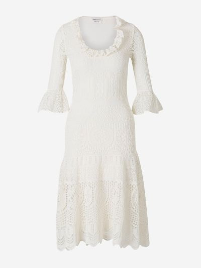 Knitted dress with Lace and Flounces