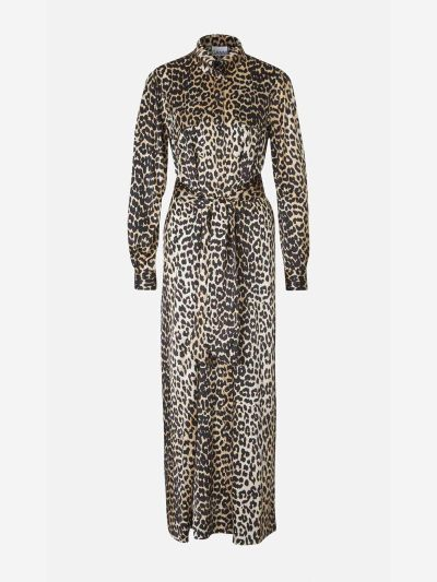 Vestido Largo Satén Leopardo