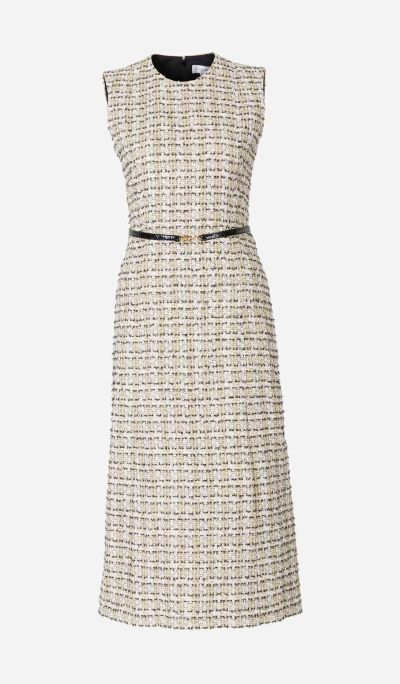 Midi Dress with Tweed Texture