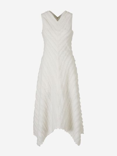 Asymmetric Hem Fringed Dress