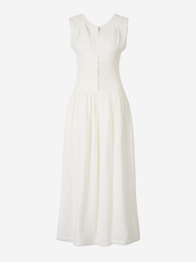 Ruched Waist Linen Dress