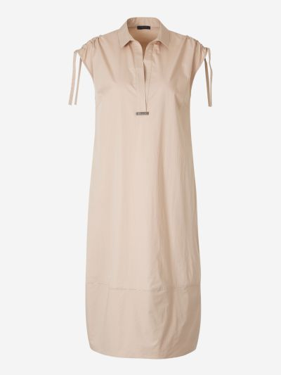 Ruched Shoulders Poplin Dress