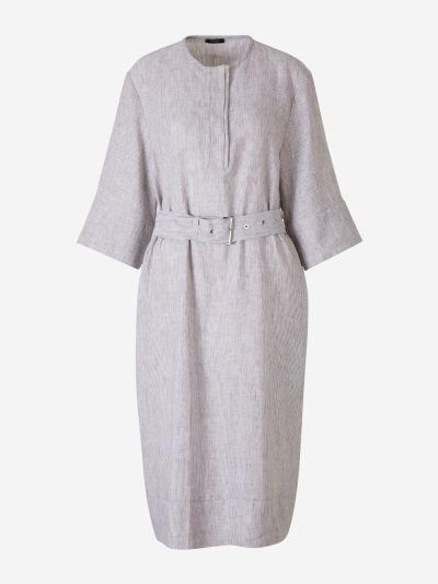 Belted Striped Linen Dress