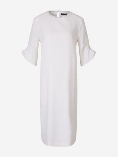 Pleated Sleeve Linen Dress