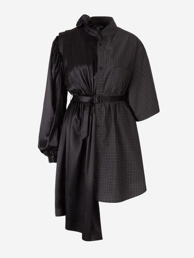 Cotton and satin shirt dress