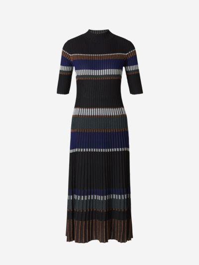 Striped Ribbed Knit Dress