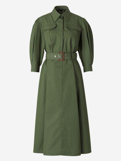 Vestido Militar Manga Abullonada
