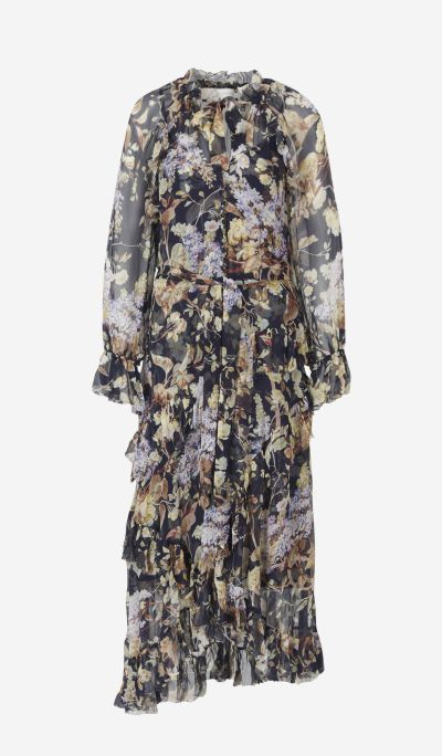 Floral silk gauze dress