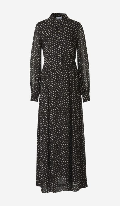 Polka dots shirt long dress