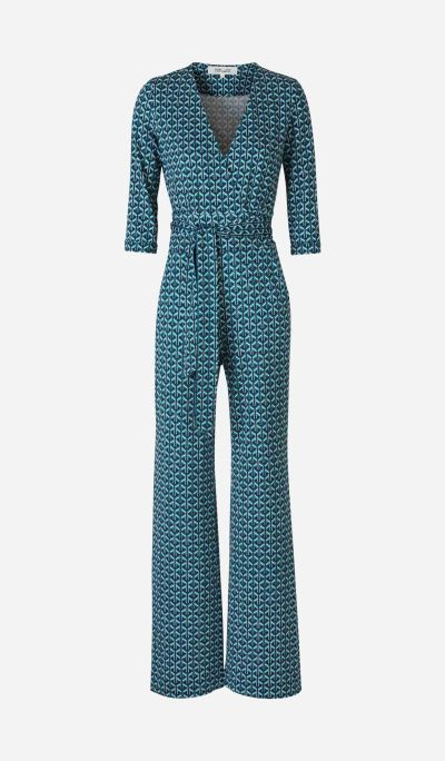 Geometric Print Wrap Jumpsuit