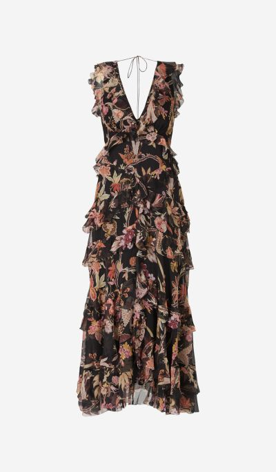 Ruffled Dress with Floral Pattern
