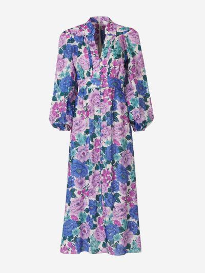 Floral Linen Dress Buttons