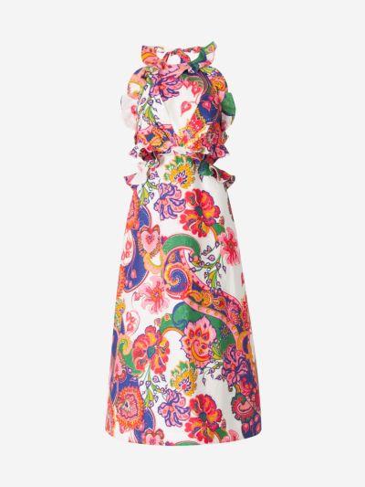 Floral Linen Halter Dress