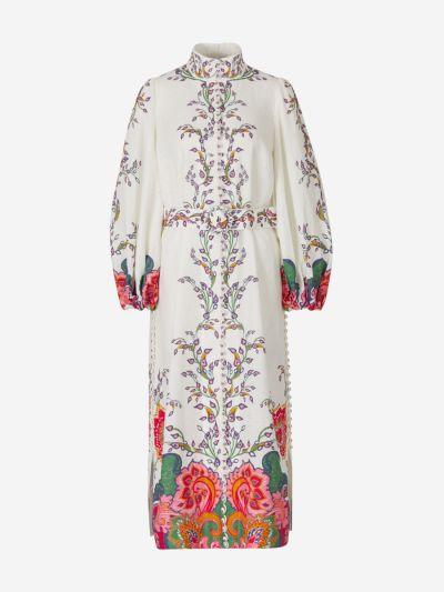 Printed Linen Midi Dress