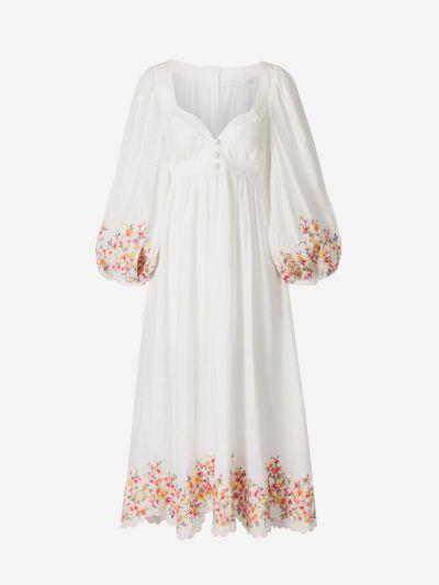 Vestido Lino Bordado Floral