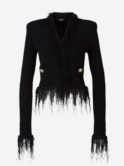 Fringed Knit Cardigan