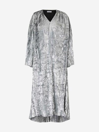 Pleated Lurex Velvet Dress
