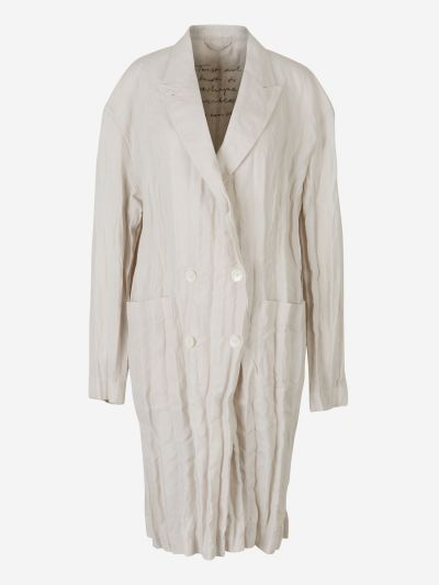 Creased Linen Trench Coat