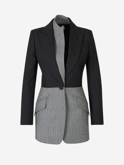 Asymmetric Diplomatic Stripe Blazer