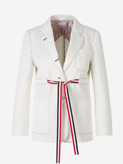 Belted Cotton Blazer