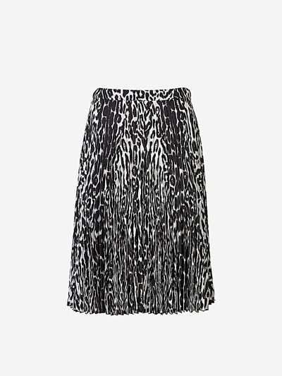 Pleated Leopard Print Skirt