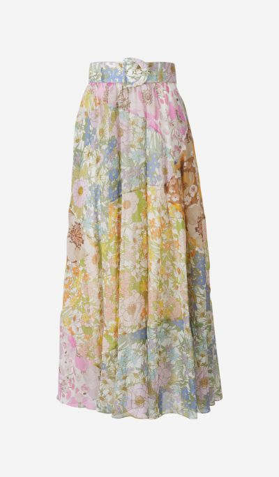 Mixed Floral Long Skirt
