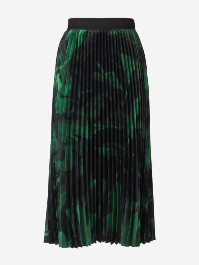 Silk Print Pleated Skirt