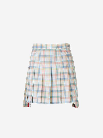 Checked Wool Pleated Skirt