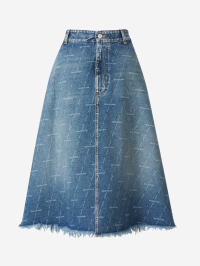 Midi Monogram Denim Skirt