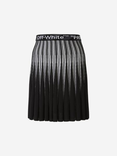 Logo Pleated Knit Skirt