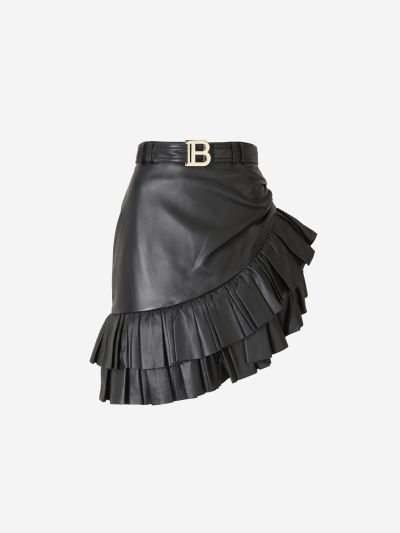 Ruffled Asymmetric Leather Skirt
