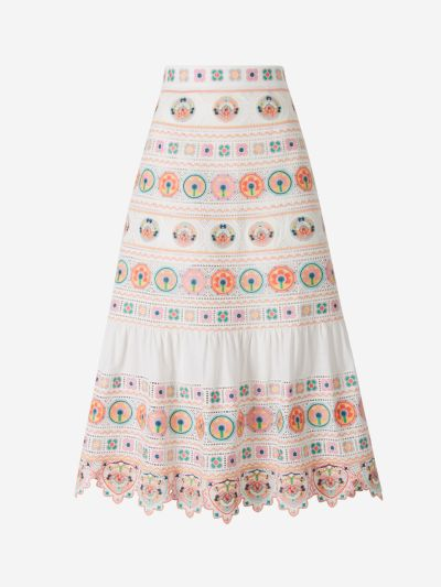Embroidered Poplin Skirt