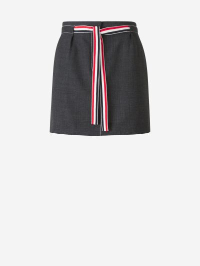 Bow Wool Mini Skirt