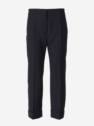 Wool twill trousers.
