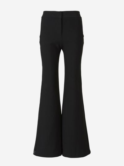 Knitted trousers with satin strip