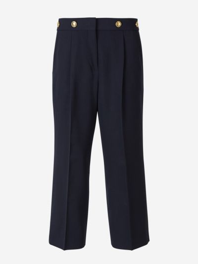 Button Pintuck Trousers