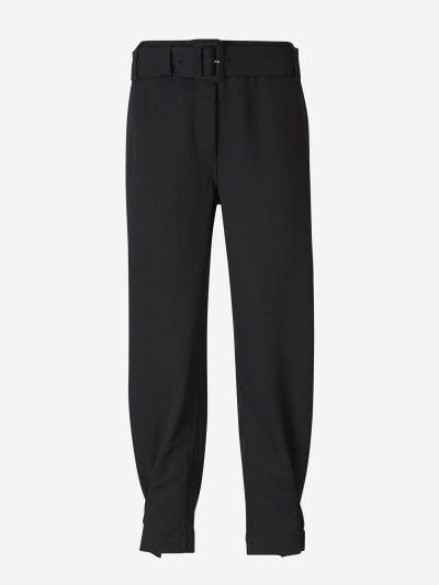 Belted Piqué Pants